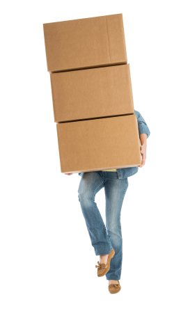 Woman Carrying Stacked Cardboard Boxes While Standing On One Leg