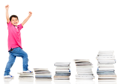 Happy boy climbing in his education