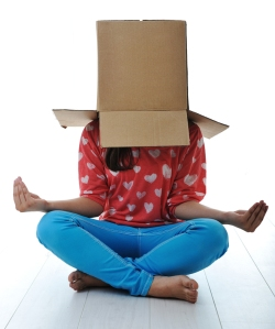 Box on human head